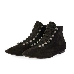 Balenciaga Suede Pointed Lace-Up Ankle Booties